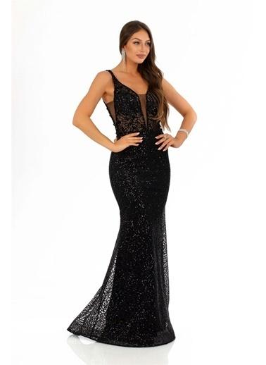 Carmen Payetli Kesme Taş Işlemeli Balık Abiye Elbise Siyah